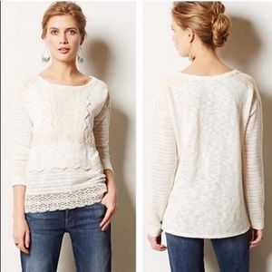 Anthro One September Heirloom Crochet Sweater